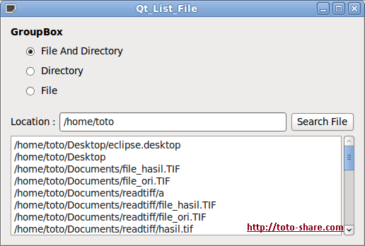 Qt List File And Directory