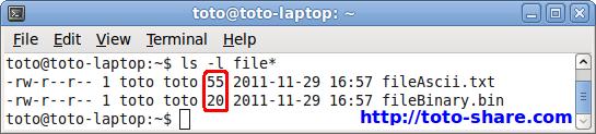 compare binary ascii file size